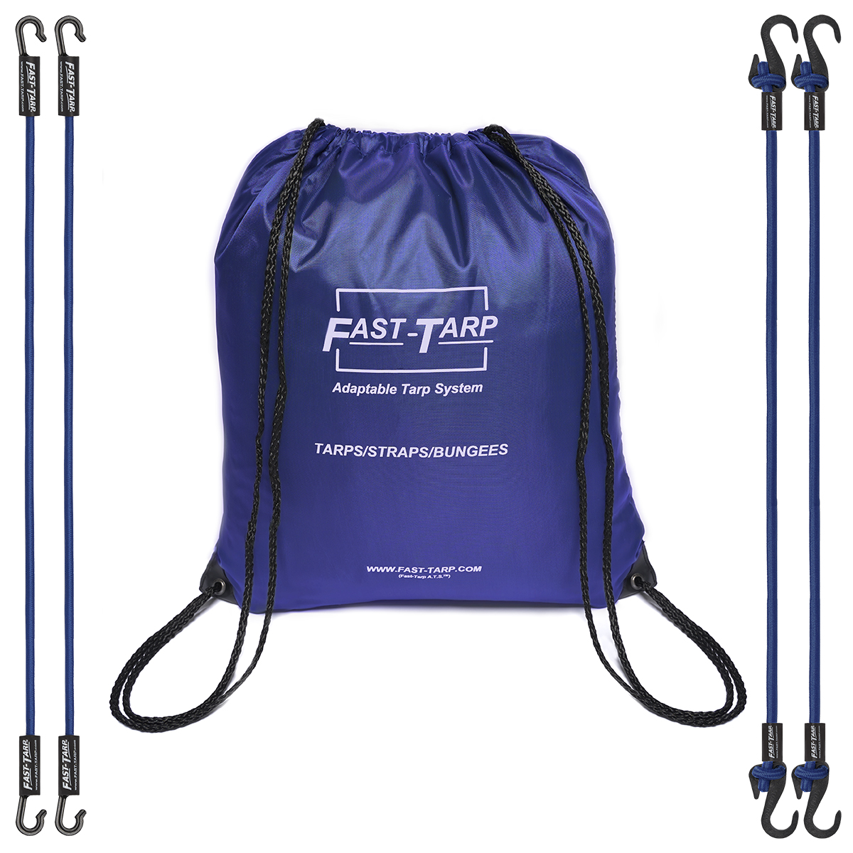 Blue Tarp bag with bungees